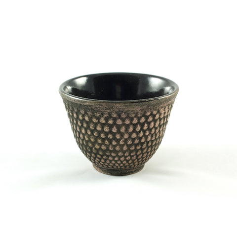 Zen Minded Cast Iron Tea Cup With Arare Pattern Black & Gold