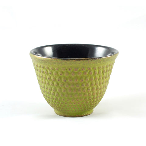Zen Minded Cast Iron Tea Cup With Arare Pattern Green & Gold