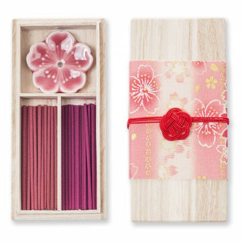Kousaido Cherry Blossom Organic Japanese Incense Stick Gift Set With Holder