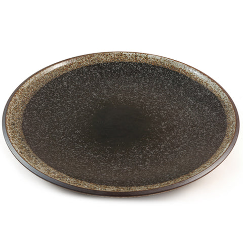 Zen Minded Ceramic Dinner Plate With Black Speckled Glaze