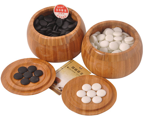 Zen Minded Go Stones Set With Bamboo Bowls