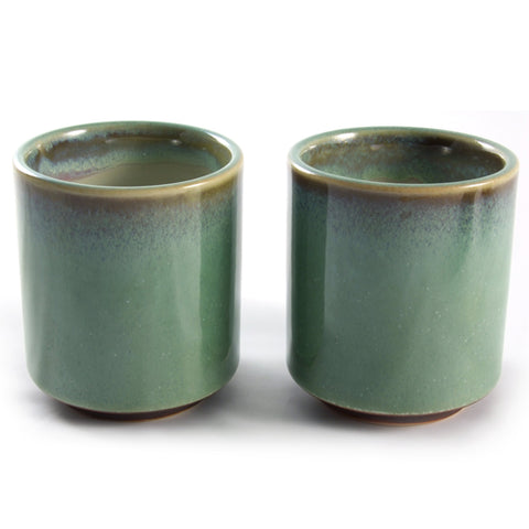 Zen Minded Green Glazed Tea & Coffee Cup Pair