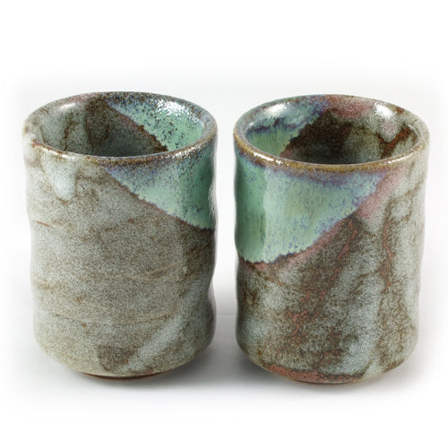 Zen Minded Green & Brown Glazed Ceramic Cup Pair