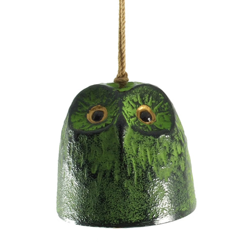 Zen Minded Green Owl Cast Iron Wind Bell