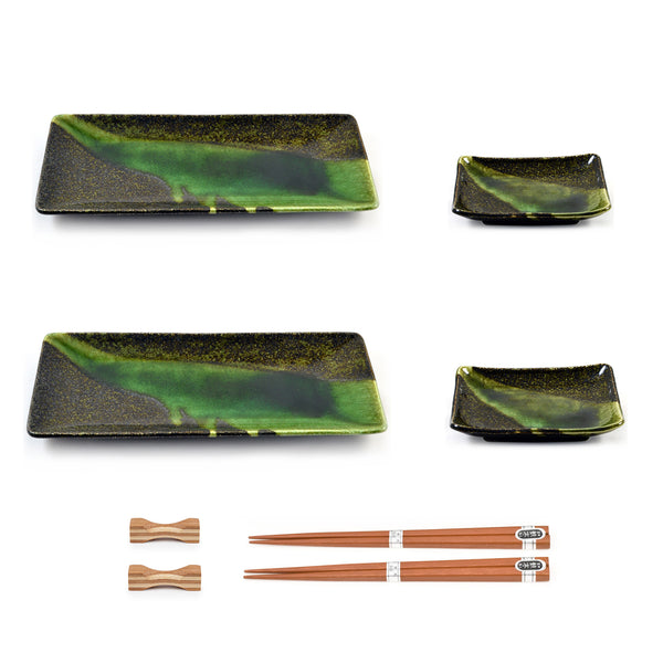 Zen Minded Green Glazed Japanese Sushi Plate Set