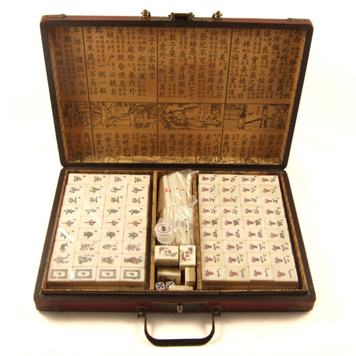 Zen Minded Chinese Mahjong Set With Traditional Leatherette Case