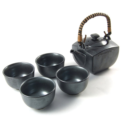 Zen Minded Japanese Tea Set With Four Cups & Silver Glaze