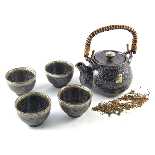 Zen Minded Japanese Stoneware Tea Set With Rustic Handle Speckle Glaze
