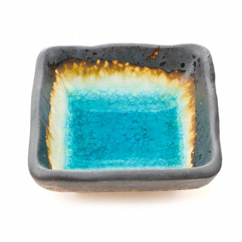 Zen Minded Small Square Blue Crackleglaze Sushi Dish