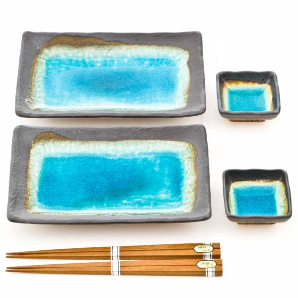 Zen Minded Blue Crackleglaze Sushi Set