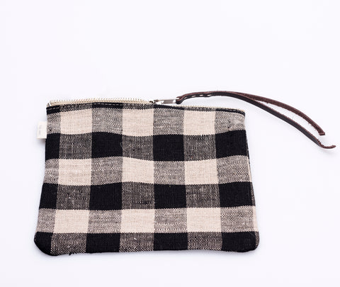 Fog Linen Canna Pouch Black Check 2
