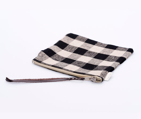 Fog Linen Canna Pouch Black Check
