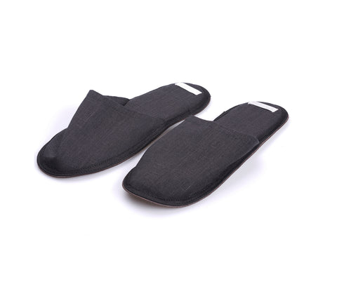 Fog Linen Linen Slippers Graphite Large