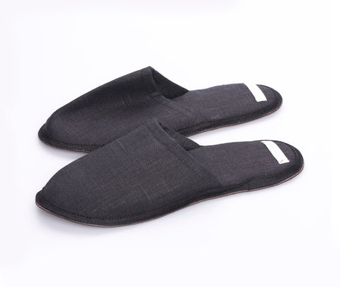 Fog Linen Linen Slippers Graphite Medium