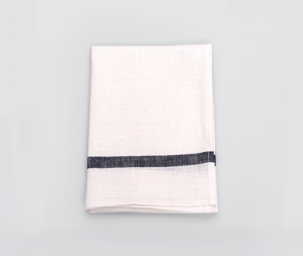 Fog Linen Kitchen Cloth White Navy Stripe
