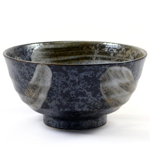 Zen Minded Mottled Black & Silver Glazed Japanese Ceramic Noodle Bowl