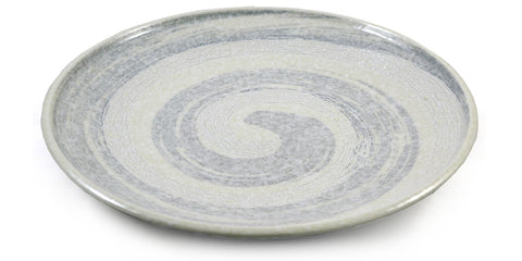 Zen Minded White Swirling Relief Japanese Ceramic Plate