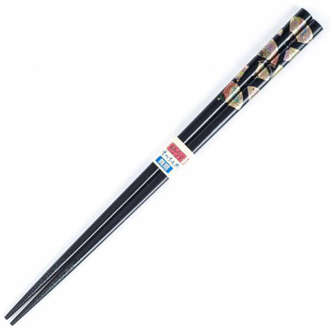 Zen Minded Japanese Black Fan Lacquered Wooden Chopsticks
