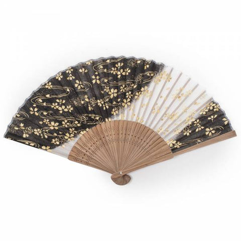 Zen Minded Black Cherry Blossom Silk & Bamboo Japanese Folding Fan