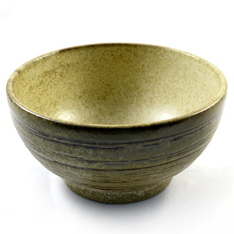 Zen Minded Beige Glazed Japanese Ceramic Ringed Bowl