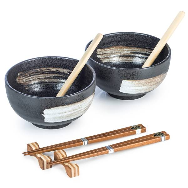 Zen Minded Kurokessho Japanese Ramen Noodle Bowl Set With Chopsticks & Spoons
