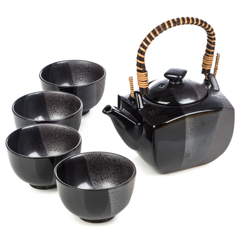 Zen Minded Japanese Tea Pot Set Sumi Glaze