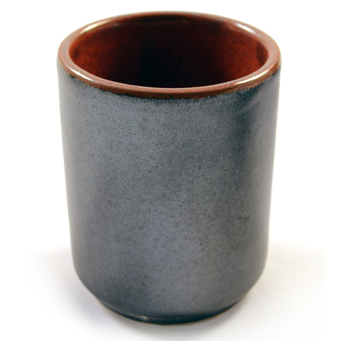 Zen Minded Silver & Fiery Orange Glazed Japanese Sake Cup
