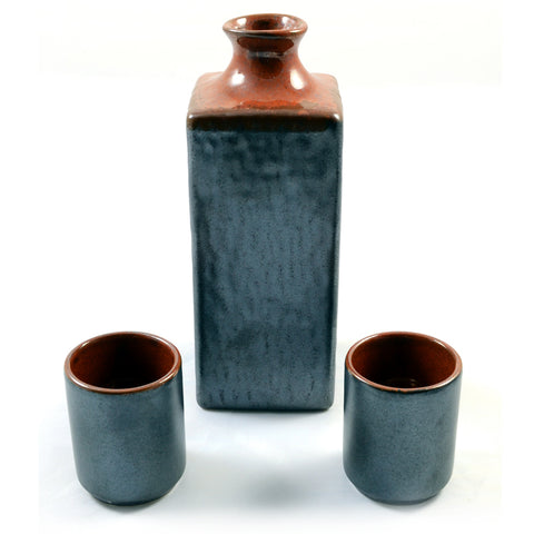 Zen Minded Silver & Fiery Orange Glazed Japanese Sake Set