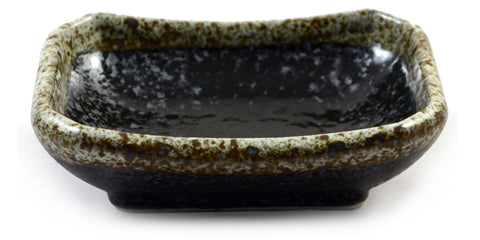Zen Minded Black Speckle Glazed Japanese Ceramic Soy Sauce Dish