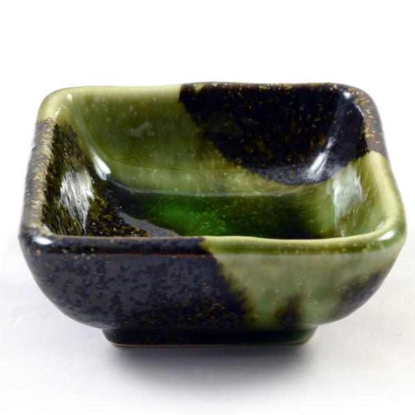 Zen Minded Iridescent Green Glazed Japanese Ceramic Dish