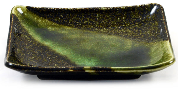 Zen Minded Iridescent Green Glazed Oblong Japanese Ceramic Plate Small