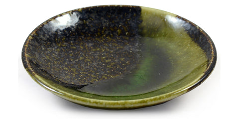 Zen Minded Small Iridescent Green Glazed Japanese Ceramic Dish