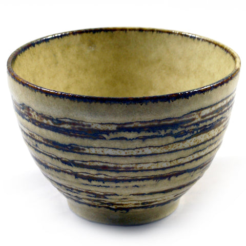 Zen Minded Ringed Grey & Brown Japanese Bowl