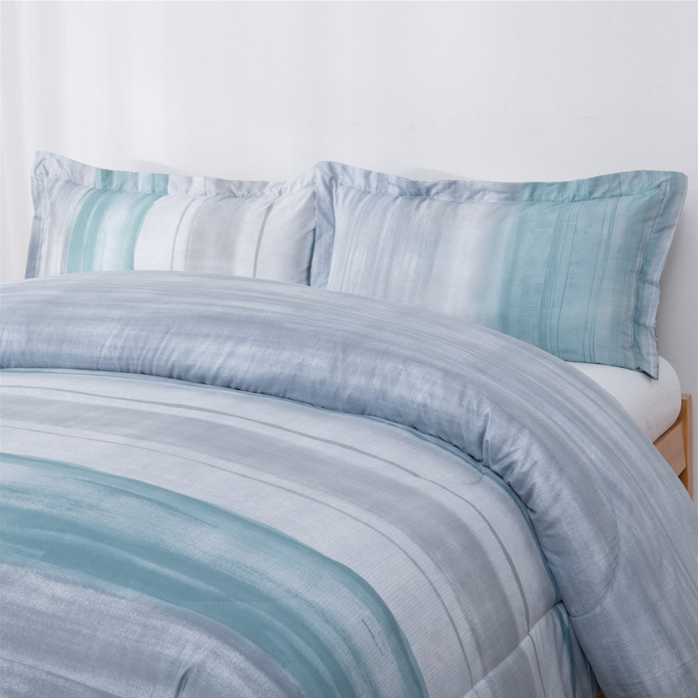 Shatex Blue Stripe Comforter Sets Twin Set– Ultra Soft 100% Microfiber Polyester – Promise Sea Comforter