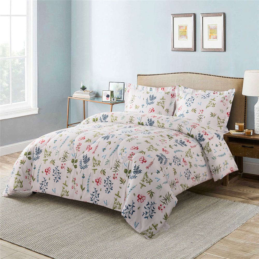 Shatex 3 Floral Pieces Bedding Comforter Sets– Ultra Soft 100% Microfiber Polyester – Flower Mini Comforter