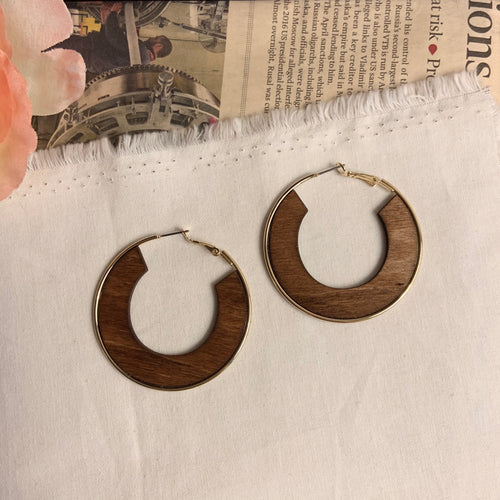 Gold Plated Wood Hoop