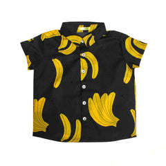 Ae-hem boys banana print shirt - charcoal