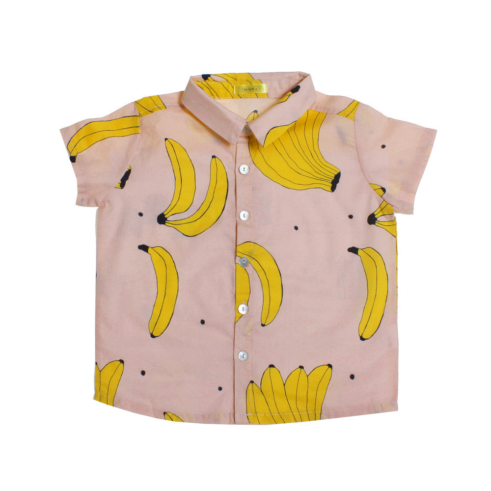 Ae-hem girls banana print shirt - pink