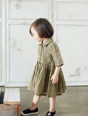 Rabbit in the Moon. Sweven Girls' Wove Stripe Shirt Dress - Gold