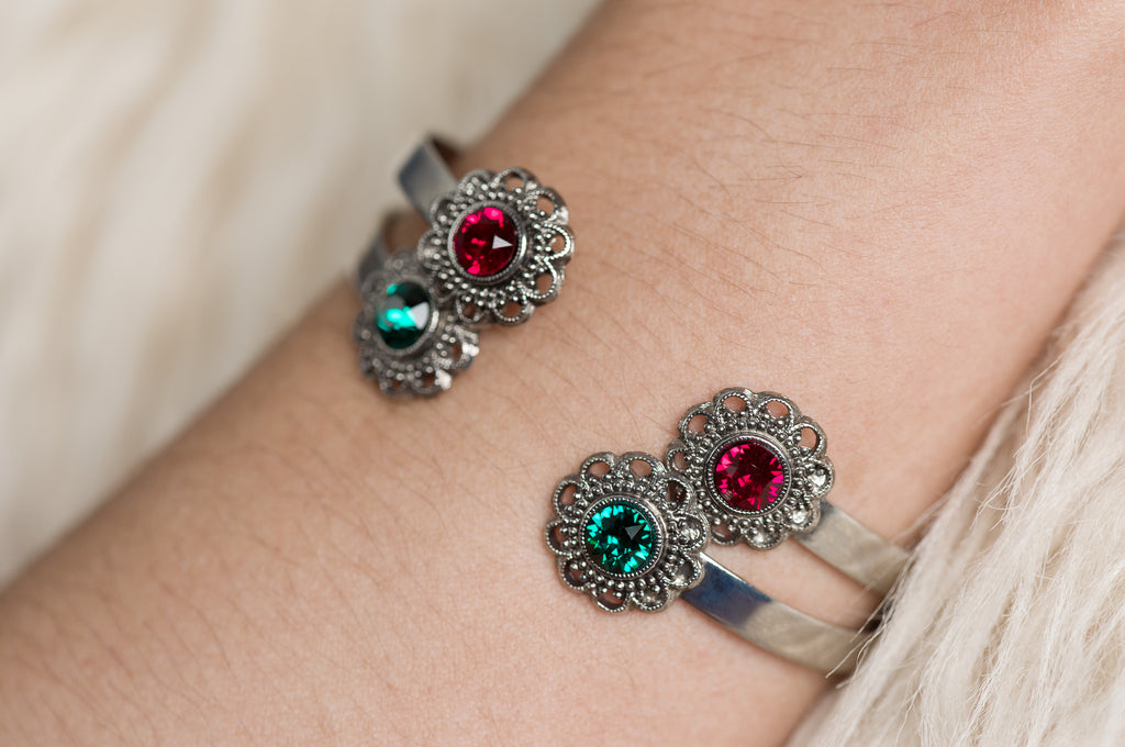 Red and Green Bracelet Stack
