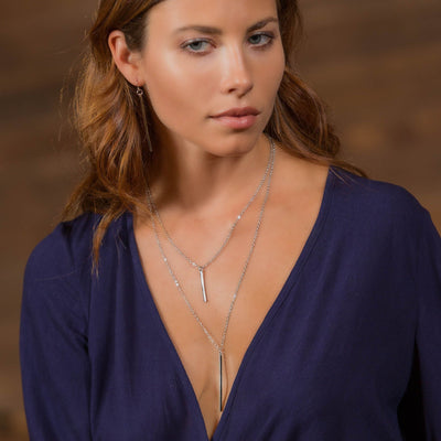 Double Strand Stick Necklace in 14k gold finish | Modern boho jewelry | Criscara