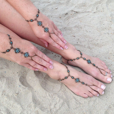 Boheme Turquoise Barefoot Sandals in burnished brass finish with Turquoise sold as pair | Modern boho jewelry | Criscara