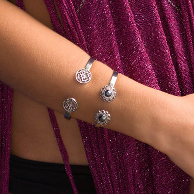 Swarovski Crystal Open Cuff in silver finish with Hematite Swarovski crystal | Modern boho jewelry | Criscara