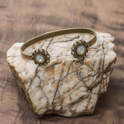 Swarovski Crystal Open Cuff in burnished brass finish with Opalite Swarovski crystal | Modern boho jewelry | Criscara