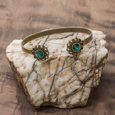 Swarovski Crystal Open Cuff in burnished brass finish with Emerald crystal | Modern boho jewelry | Criscara