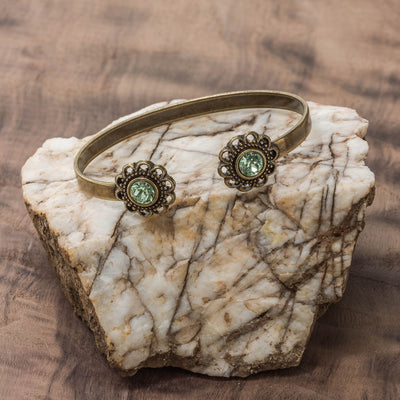 Swarovski Crystal Open Cuff in burnished brass finish with Chrysolite Swarovski crystal | Modern boho jewelry | Criscara