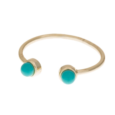 Adjustable Open Turquoise Ring in 14k gold finish with Turquoise size 6 | Modern boho jewelry | Criscara
