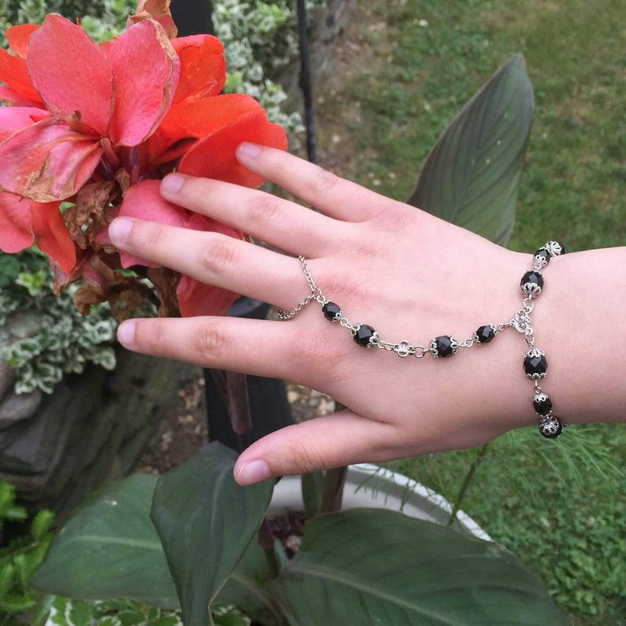 ANAHITA Beaded Hand Chain | Black as Night