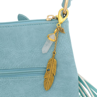 Gemstone Feather Key Fob in 14k gold finish with Quartz crystal | Modern boho jewelry | Criscara
