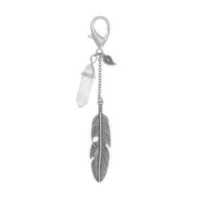 Gemstone Feather Key Fob in silver finish with Quartz crystal | Modern boho jewelry | Criscara